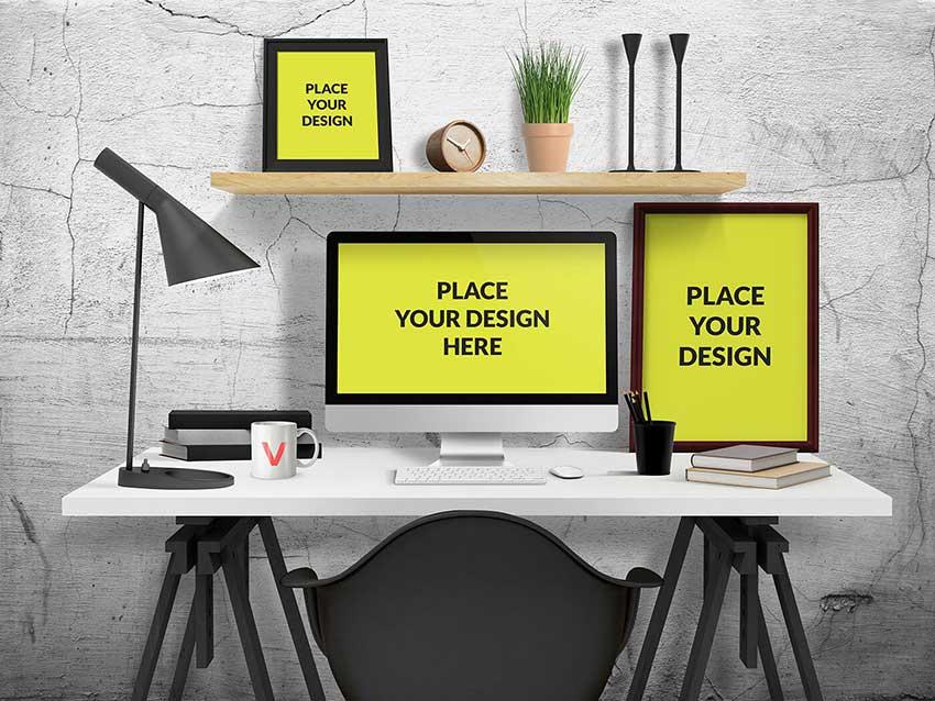 Desk Workspace Mockup