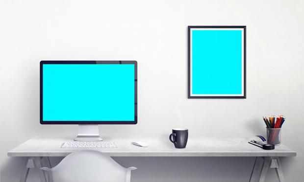Apple Display Workspace Mockup