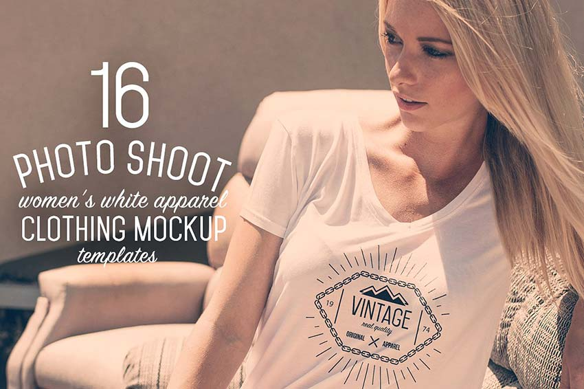 16 Women's White Apparel Mockups