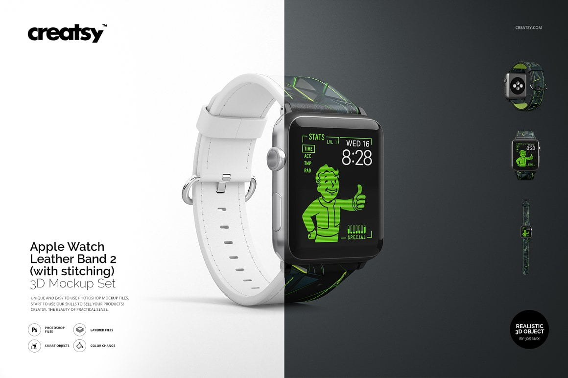 Apple Watch Leather Band 2 Mockup