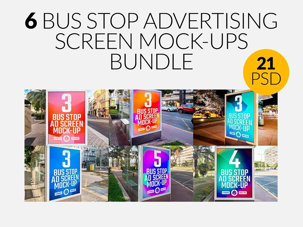Bus Stop Ad Screen Mock-Ups Bundle