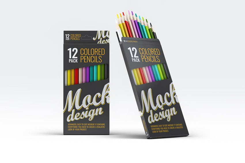 Colored Pencils 12 Pack Mock-Up