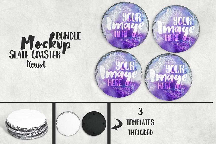 Round Slate Coaster Mockup