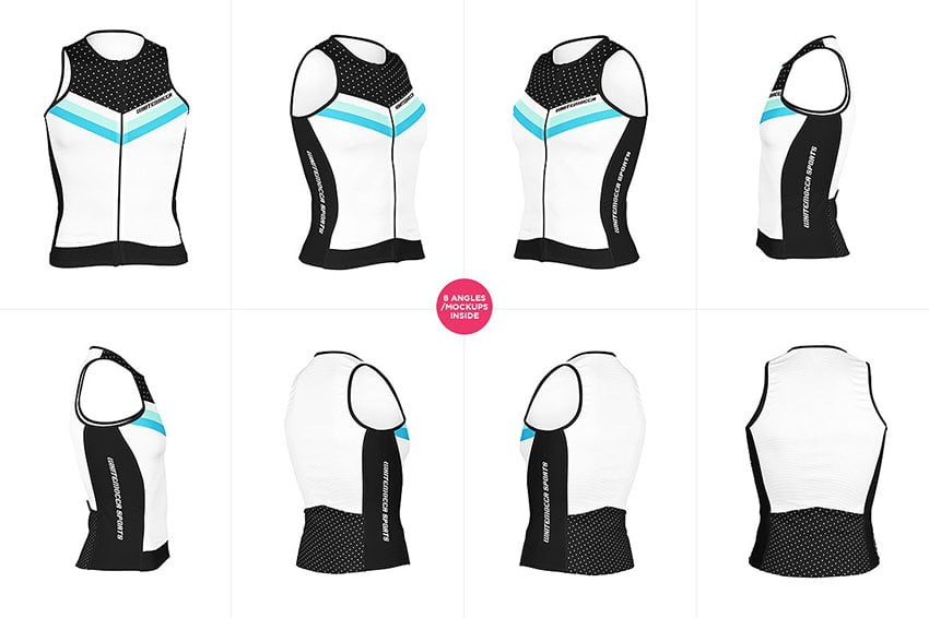 Bike Sleeveless Jersey Mock-ups Set