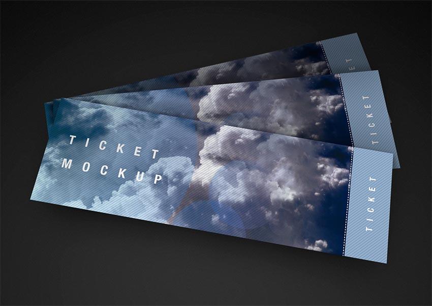 Free PSD Ticket Mockup