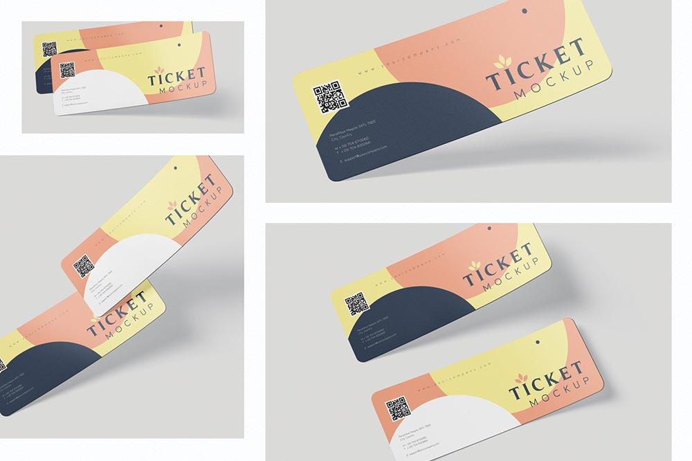 Ticket Round Corner Mockup