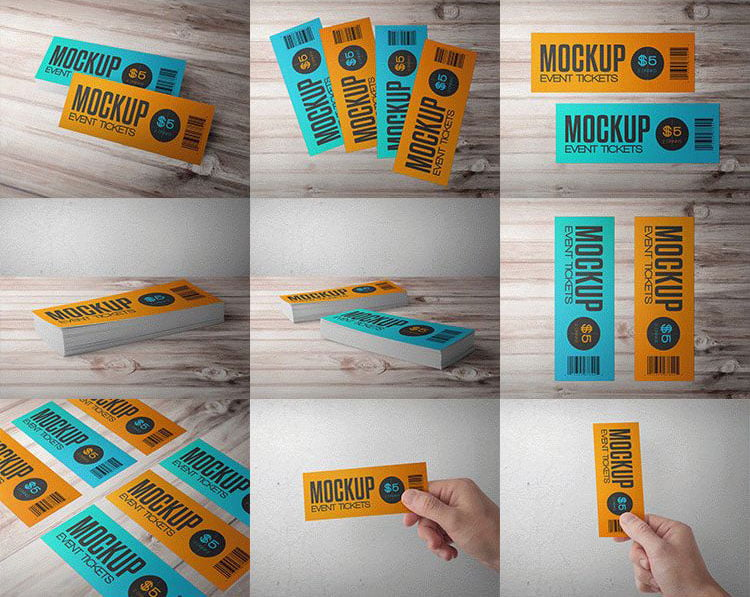Free Event Tickets PSD Mockups