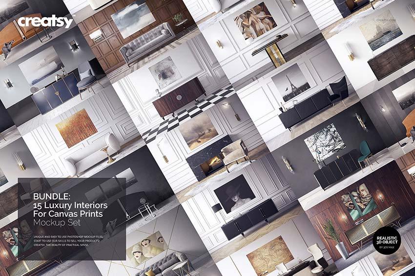 Luxury Interior Canvas Print Mockups