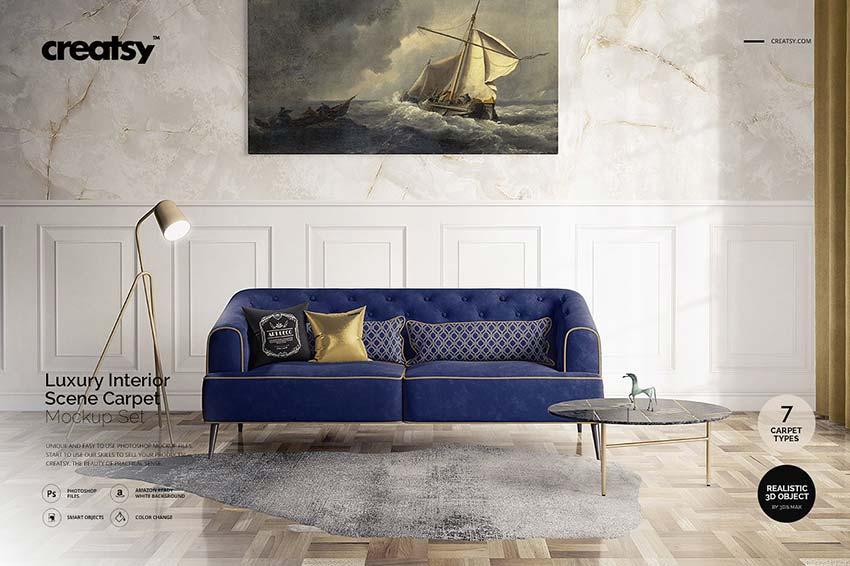 Luxury Interior Carpet Pillow Mockup