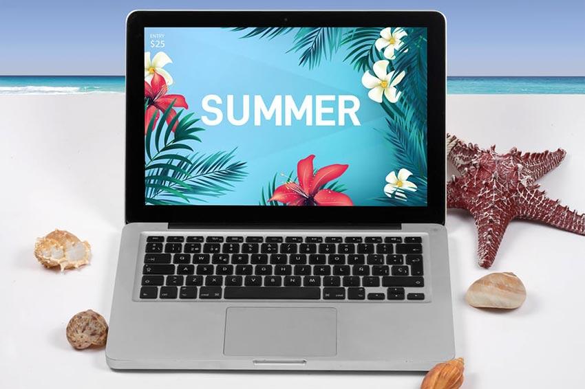 Laptop Summer Mock Up