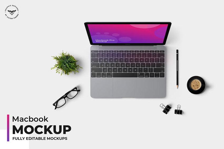 Macbook Topview Mockups