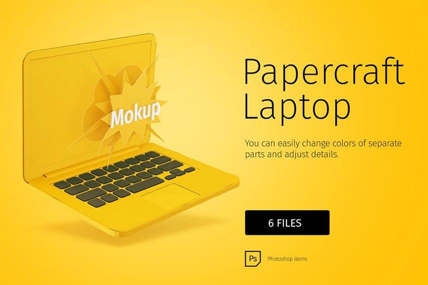Papercraft Laptop Mockup