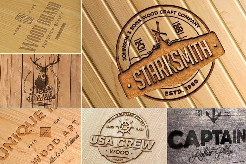 Photo-realistic Wood Craft Logo Mockups