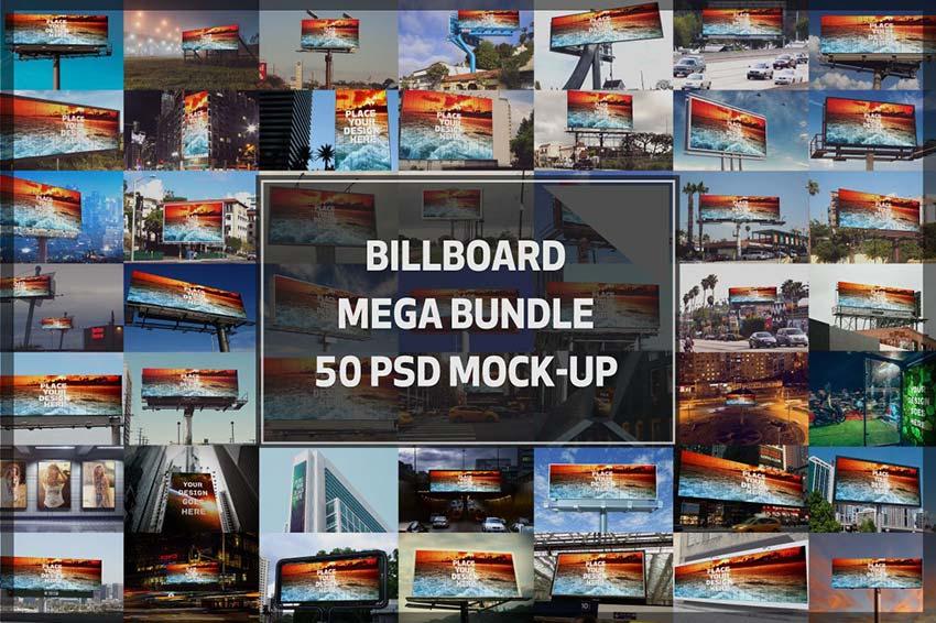 50 Billboard Mock-up Mega Bundle