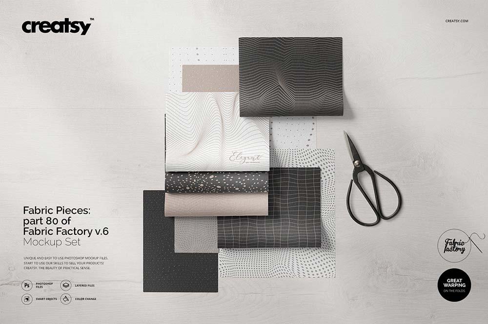 Fabric Pieces Mockup
