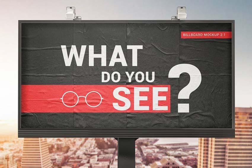 Billboard With Glued Paper Effect Mockups
