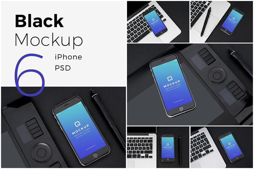 Black Mock-Up iPhone Pack
