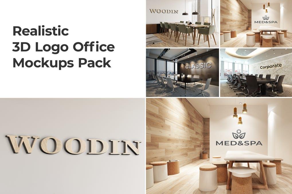 3D Logo Office Mockups Pack