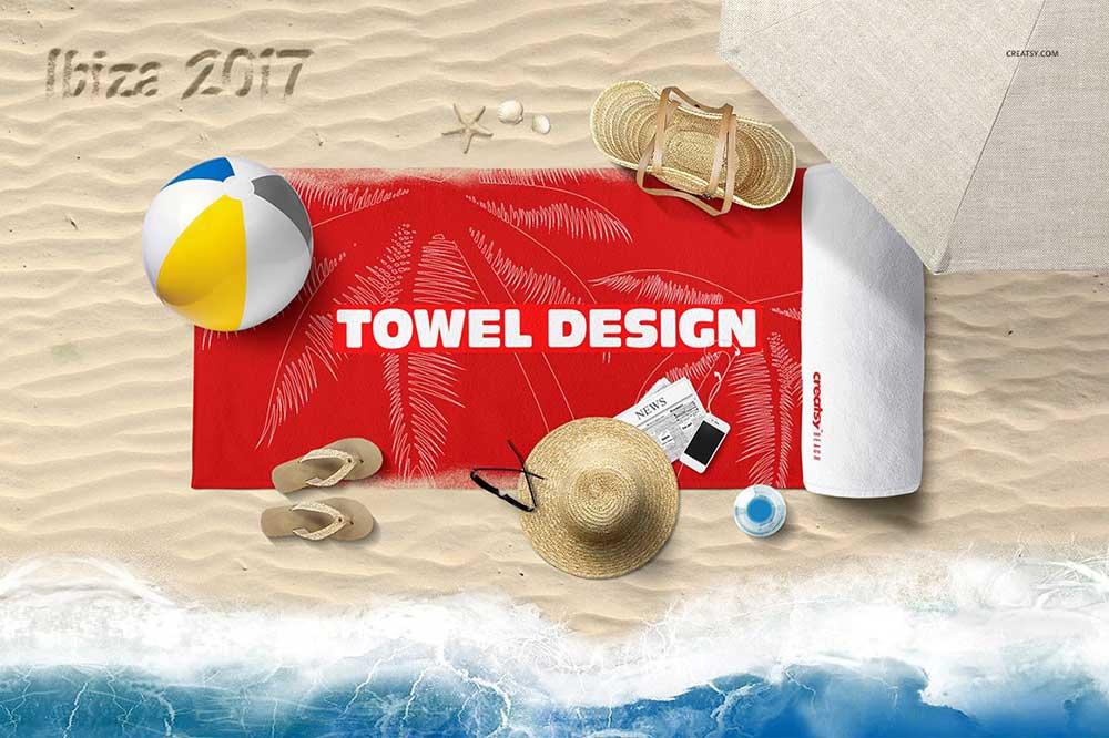 Beach Towel Scene Mockup
