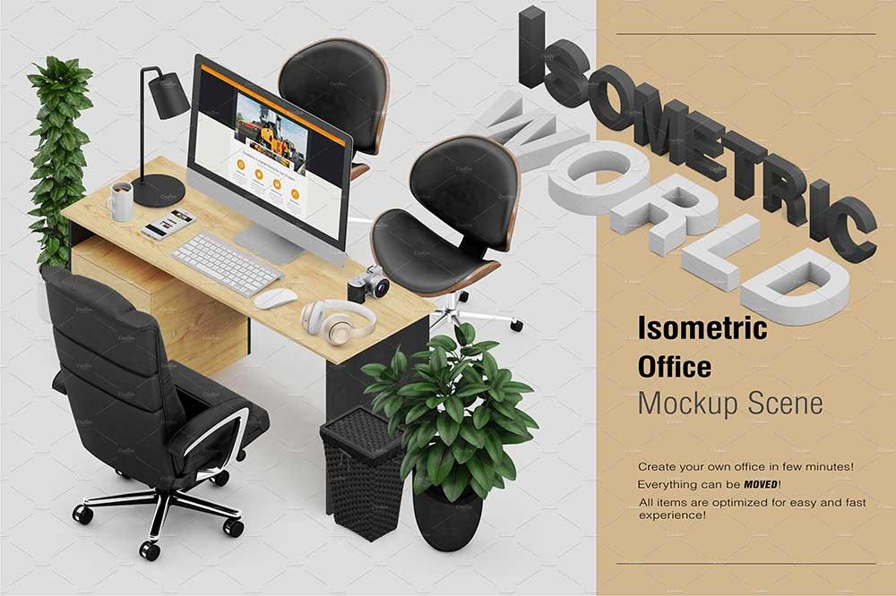 Isometric Office Scene Mockup