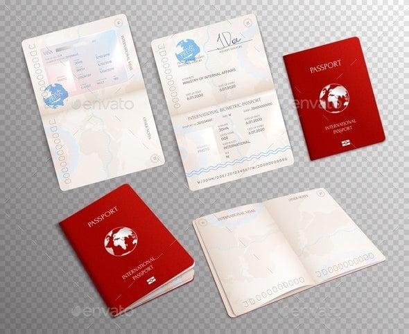 Passport Mockup Transparent Set