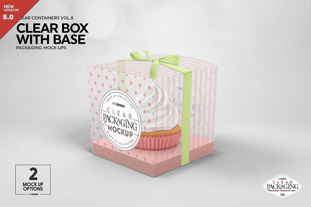 Clear Cupcake Box Packaging Mockup