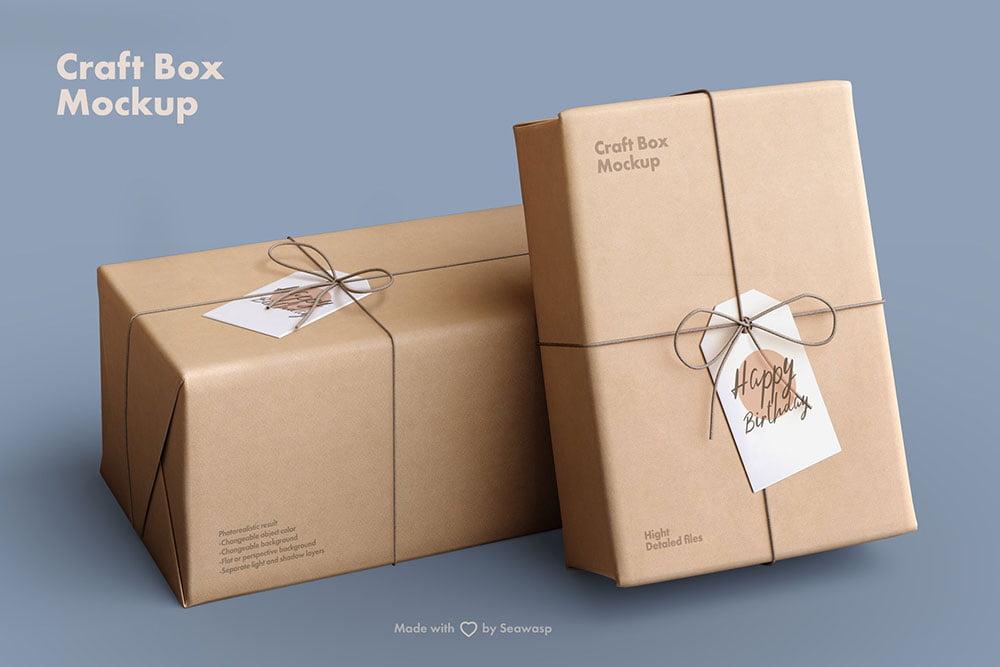 Craft Paper Giftbox Mockup