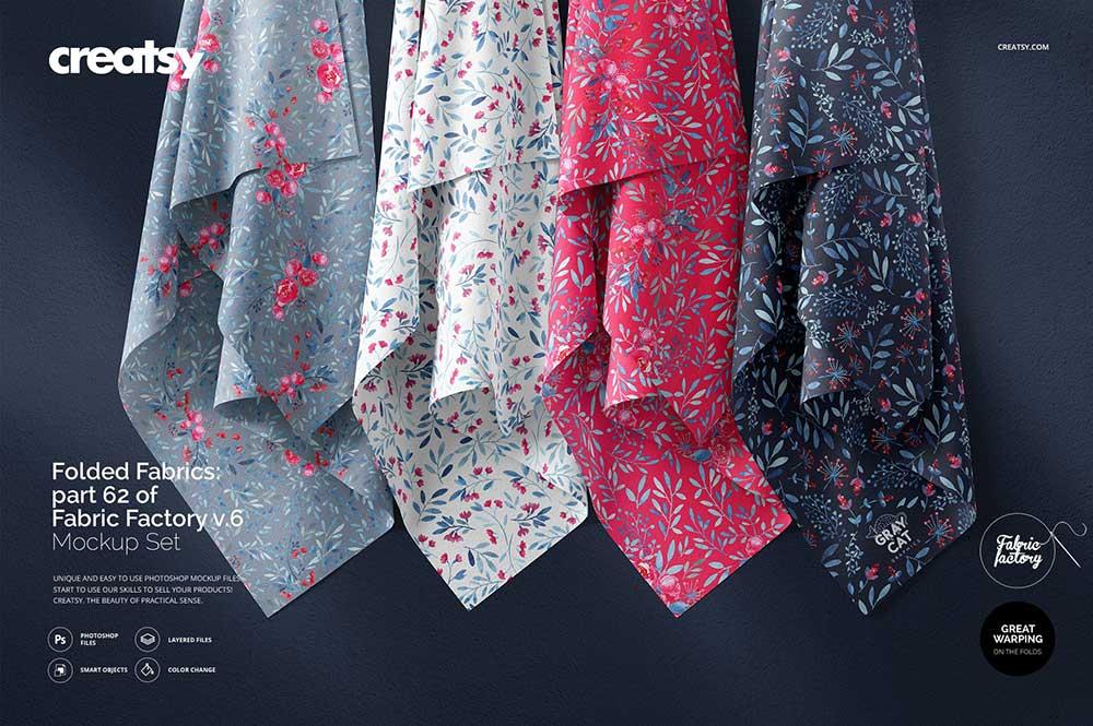Hanging Fabrics Mockup