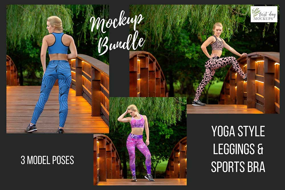 Leggings Sports Bra Mockup Bundle
