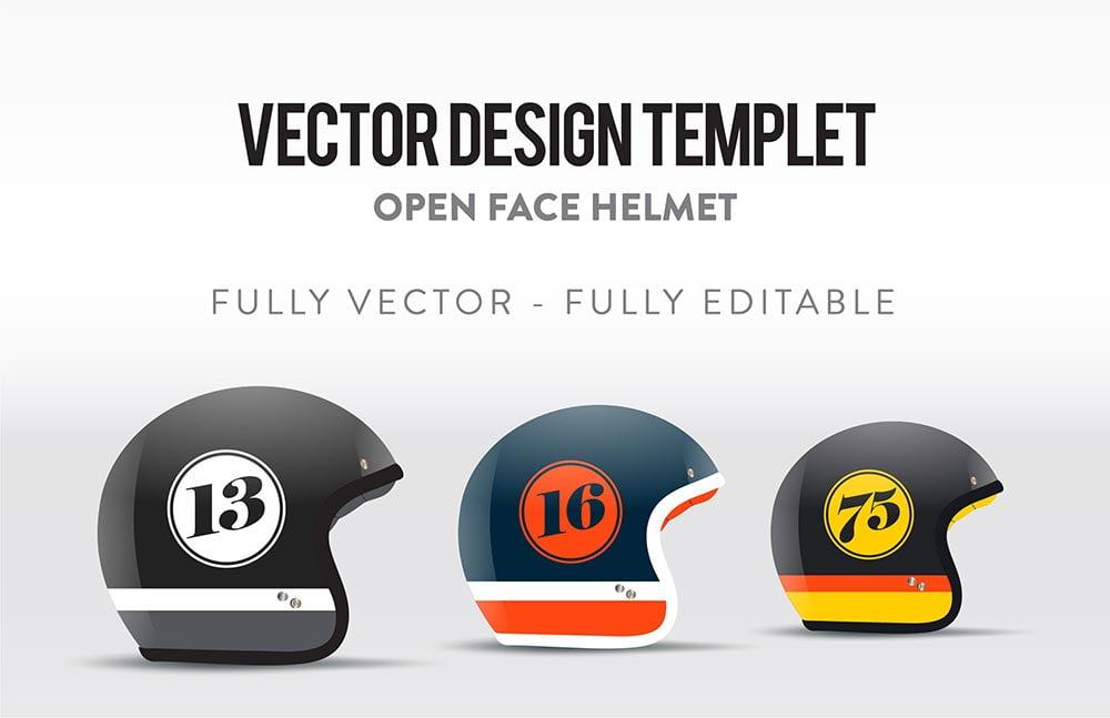 Open Face Helmet Templet