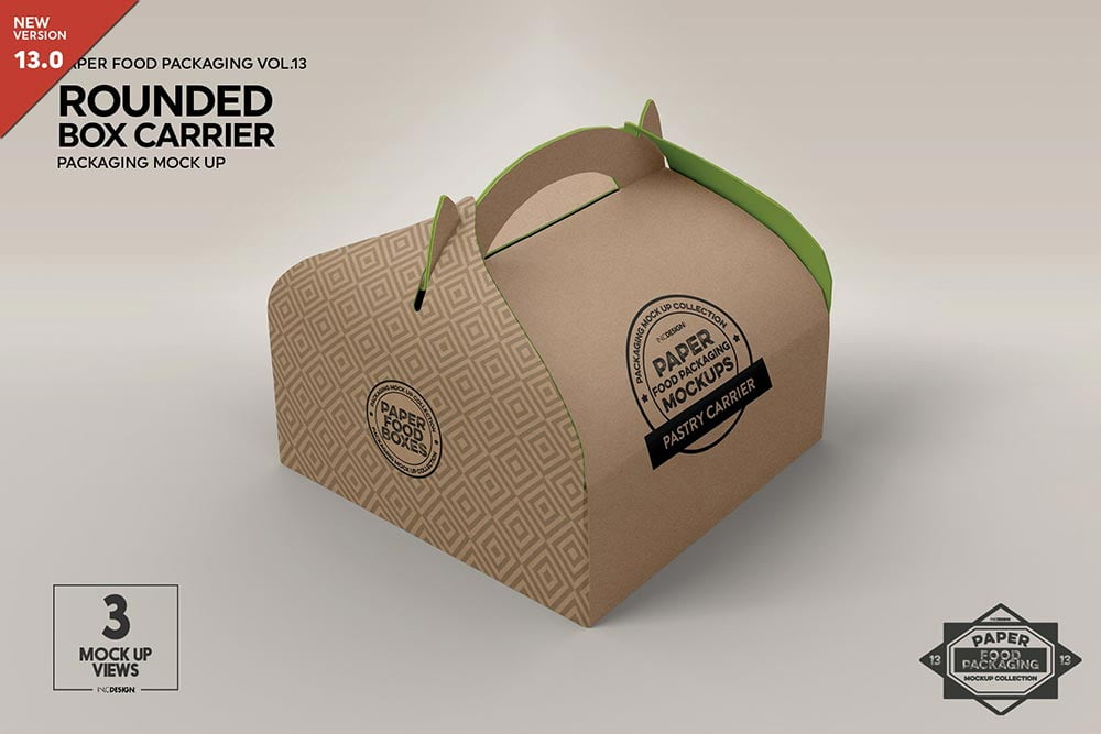 Paper Rounded Box Carrier Mockup