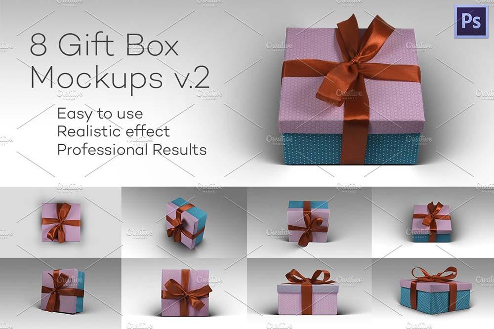 8 Photorealistic Gift Box Mockps