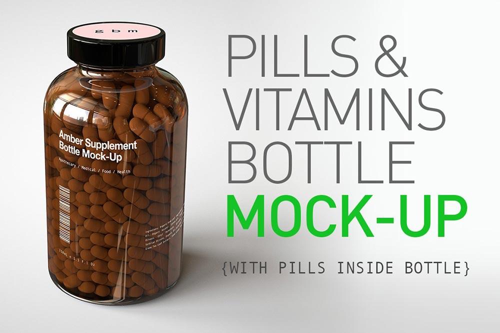 Pill Vitamin Bottle Mock-Up