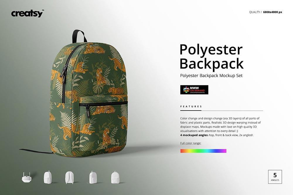 Polyester Backpack Mockup Set