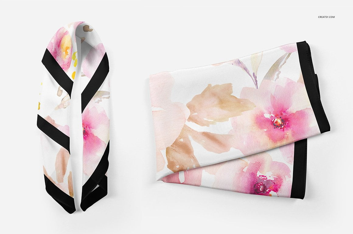 Silk Scarf Mockup Set