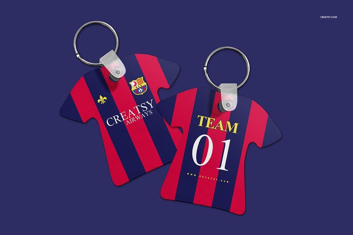 Soccer Jersey Keychain Mockup Set