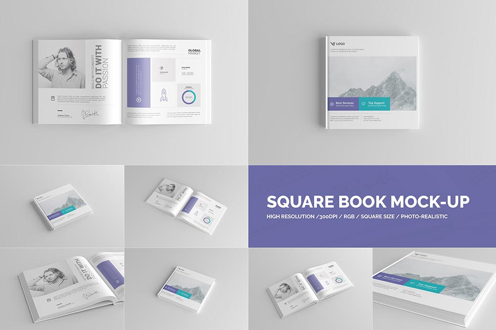 Square Book Mock-Up