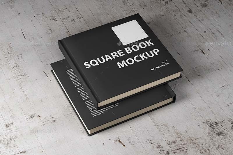 Square Book Mockup PSD Templates