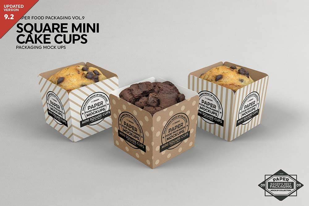 Square Cake Cups Packaging Mockup