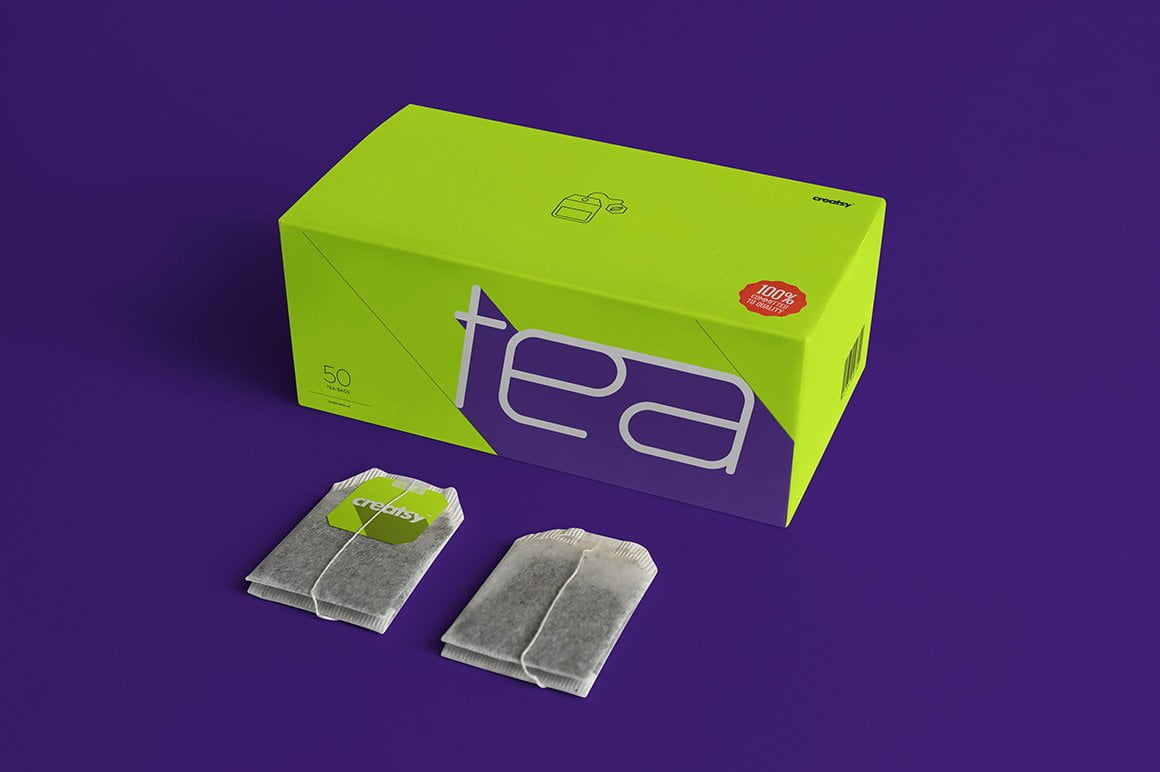 Tea Box and Tea Bag Label Mockup Set