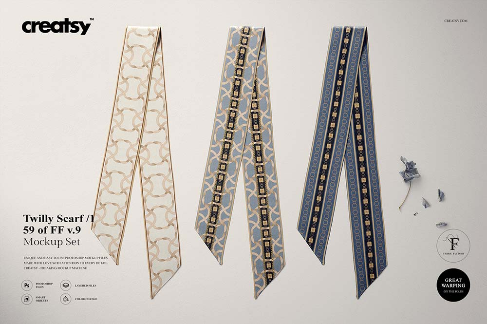 Twilly Silk Scarf Mockup