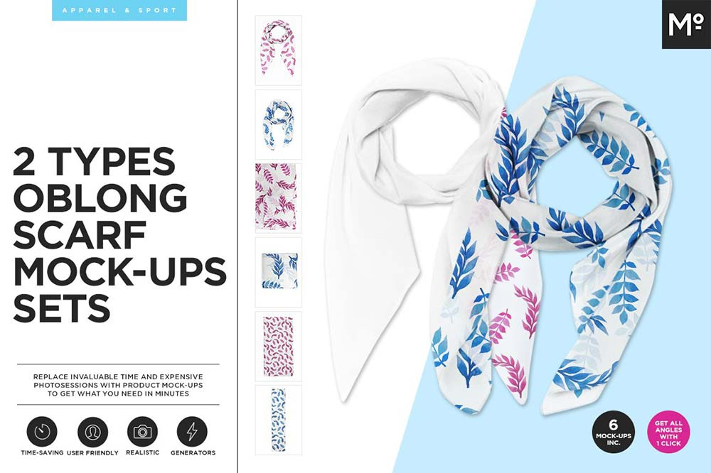2 Types Oblong Scarfs Mock-ups