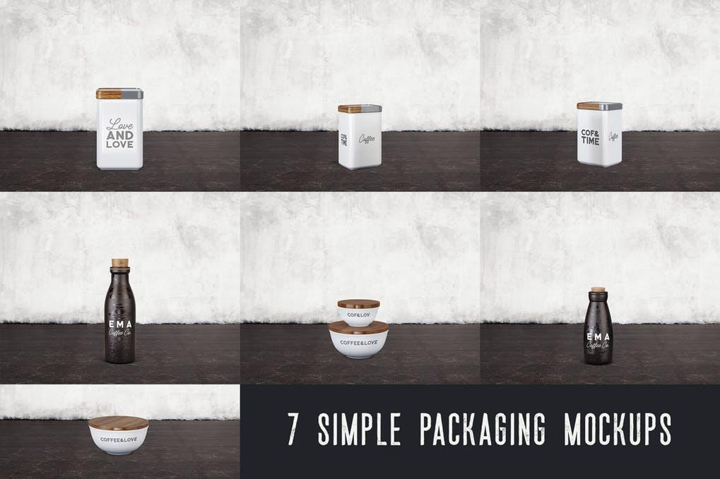 7 Simple Coffee Packaging Mockups