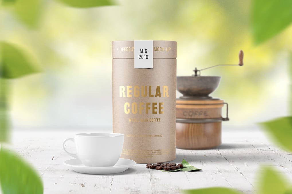 Paper Tube Coffee Package Mock Up
