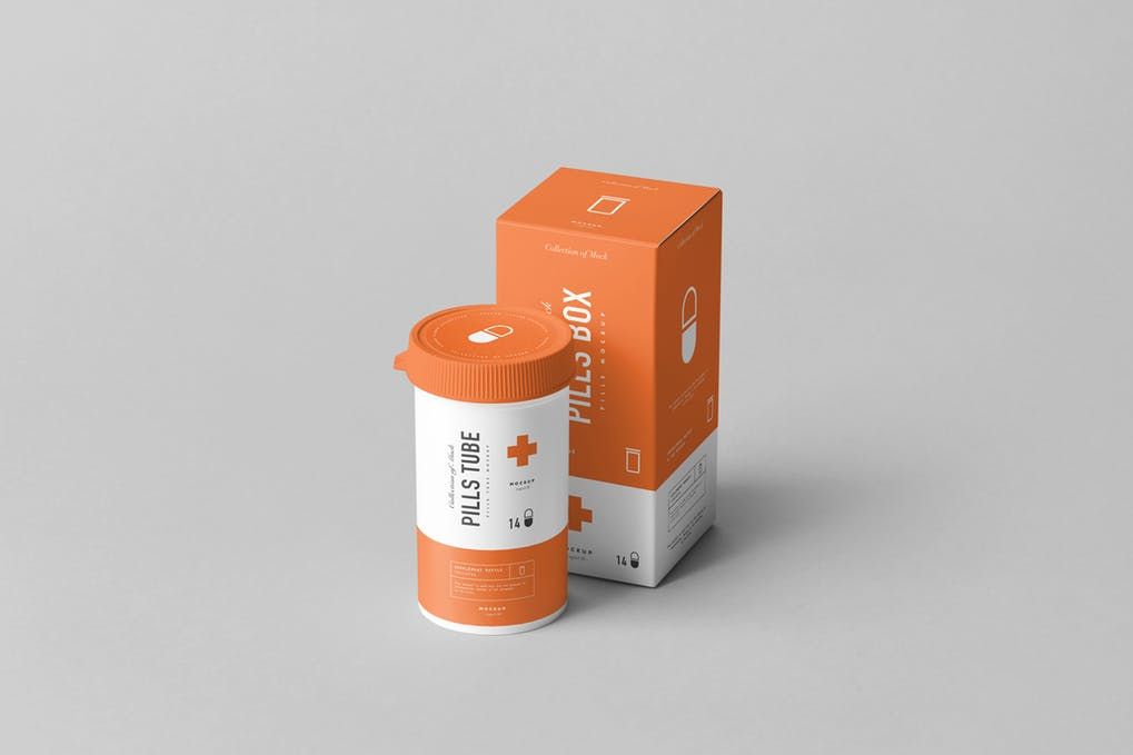 Pills Tube & Box Mock-up