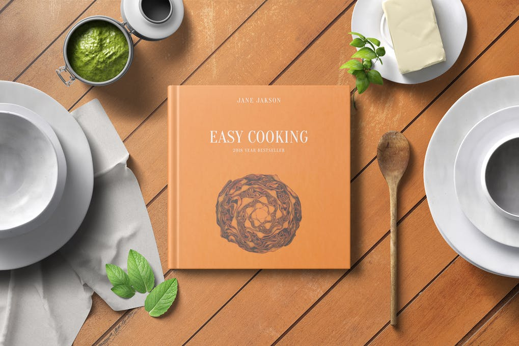 Square Cook Book Mockup