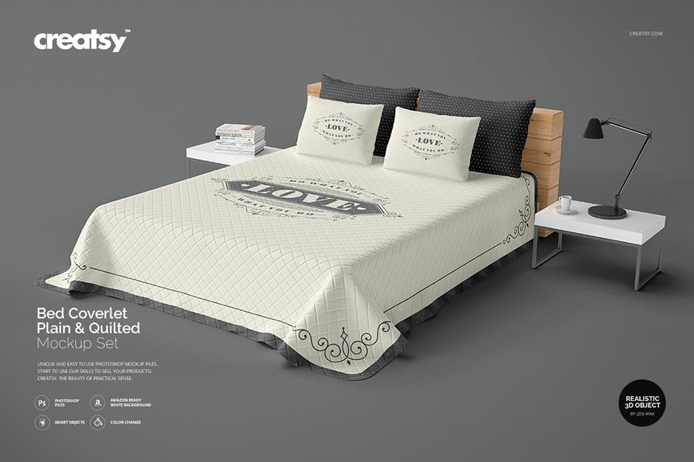 Bed Coverlet Plain & Quilted Mockup