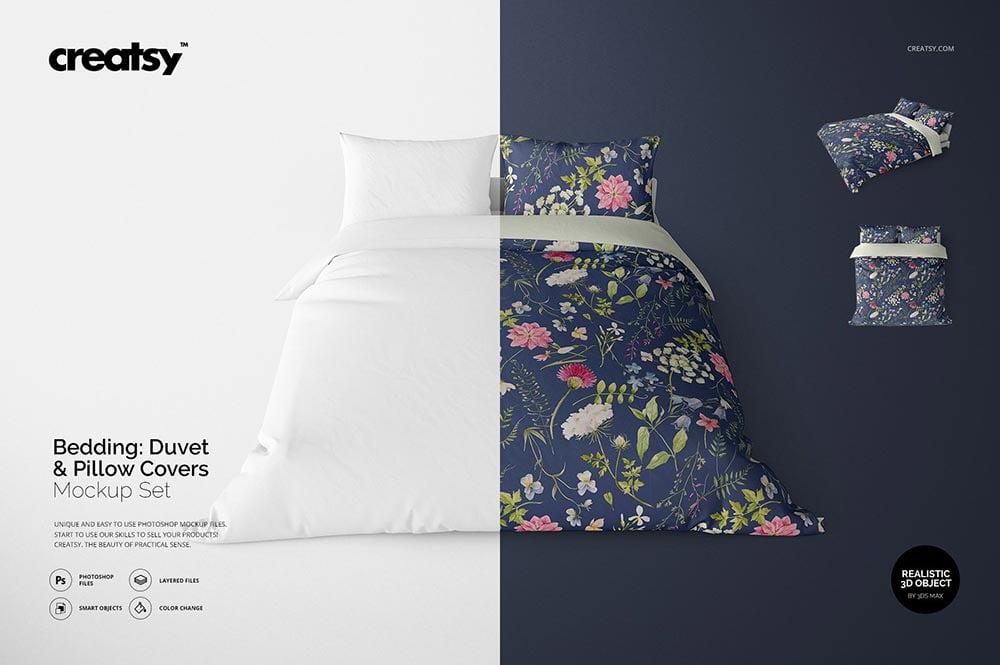 Bedding Mockup Set - Duvet & Pillows