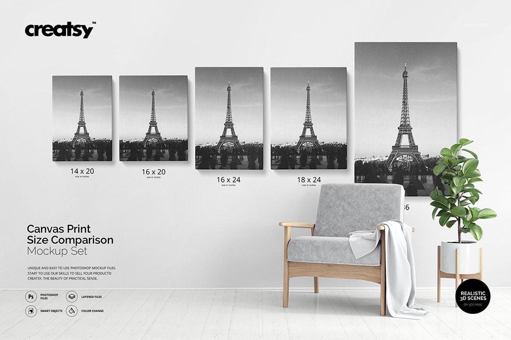 Canvas Print Size Comparison Mockup