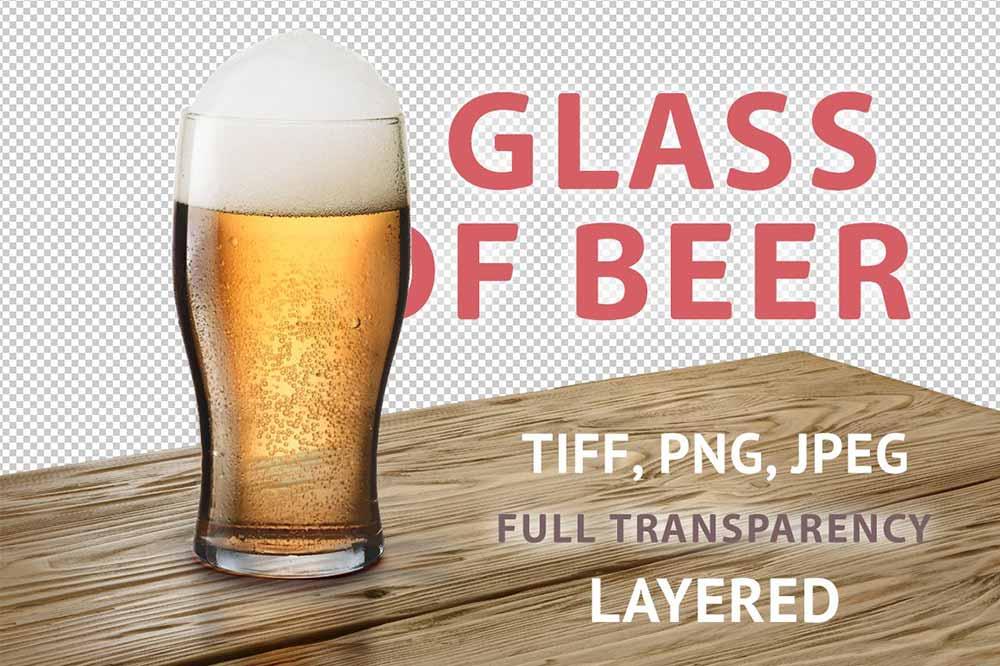 Glass of light beer Mockups